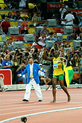 Beijing Olympics: 100 Meters Men's Final (rich115) Tags: track beijing running bolt record olympics athlete beijing2008 sprint 100m worldrecord 969 olympics2008 beijingolympics 100meters hundredmeters licensechangedforioc