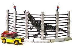 cage (psiaki) Tags: fence lego dinosaur explorer suv trex tyrannosaurusrex jurassicpark moc