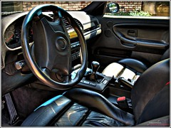 Driver's Seat V2 (youneverknowphotography) Tags: door black leather wheel speed sedan canon outside mirror steering 5 interior bricks rich powershot gas bmw 1997 brake manual vader m3 vaders bushes hdr transmission picnik pedal g7 e36 glovebox 4door