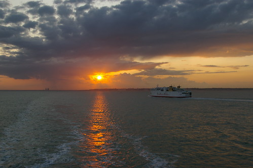 Sunset with ferry (leaving Ramsgate)