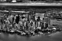 Dark City (nosha) Tags: nyc newyorkcity bw ny newyork monochrome beautiful beauty dark photography blackwhite nikon crash manhattan air apocalypse september explore helicopter ugly wallst