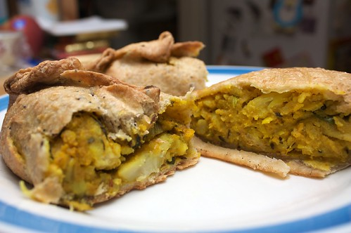 vegan pasty (left) and vegan samosa (right)