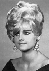 035 - Blonde Gran Prix Face Left (Sydney Michelle) Tags: hair bob hairdo curls fringe pearls petal blond blonde earrings 1960s bang hairstyle sixties coif coiffure nape mrray hifashion