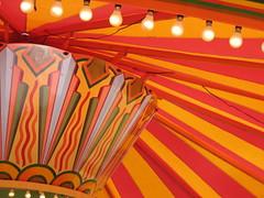 Fairground Ride - detail (Katie-Rose) Tags: uk orange yellow lights pattern ceiling worcestershire striped katierose supershot canonpowershota700 platinumphoto colorphotoaward anglesanglesangles theunforgettablepictures colourartaward fbdg colourfulshot rubyphotographer wellandsteamrally