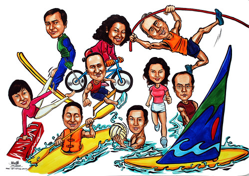Group caricatures sketch for Microsoft APAC colour