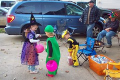 Handing out water & candy