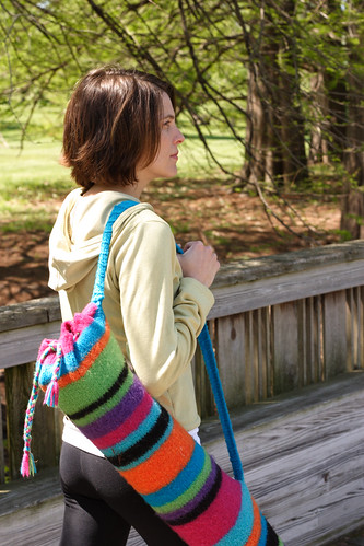 striped felted yoga mat bag