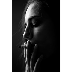 (FissionMailed.com) Tags: shadow red portrait woman amanda sexy eye girl beautiful beauty smile face lady female mouth dark hair nose 50mm cigarette gorgeous smoke teeth profile lips smoking redhead eyebrow forehead ef50mmf18ii ephemeral titania exhale inhale 50mmlens eoshe fissionmailed