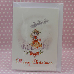 mushroom pixie card in bag (ollerina) Tags: christmas xmas rabbit bunny art mushroom illustration vintage painting festive cards monkey buttons magic tags magnets pixie elf gifts fairy fantasy watercolour childrens etsy badges magical elves