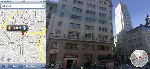 Captura de pantallas de iPhone mostrando Google Maps y Google StreetView