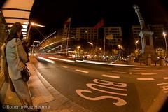 Waiting for a slow bus (Berts @idar) Tags: noche calle zaragoza panoramica nocturnas callejeando nocturno espaa peleng8mmfisheye canoneos400ddigital