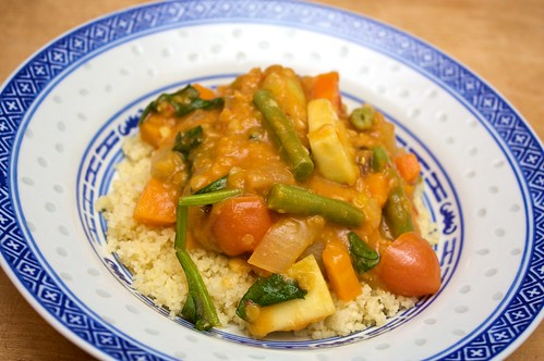 moroccan spring vegetables and couscous