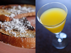 french toast and mimosa (poopoorama) Tags: christmas food breakfast nikon diptych drink sigma frenchtoast alcohol mimosa powderedsugar d300 1850mmf28exmacrohsm