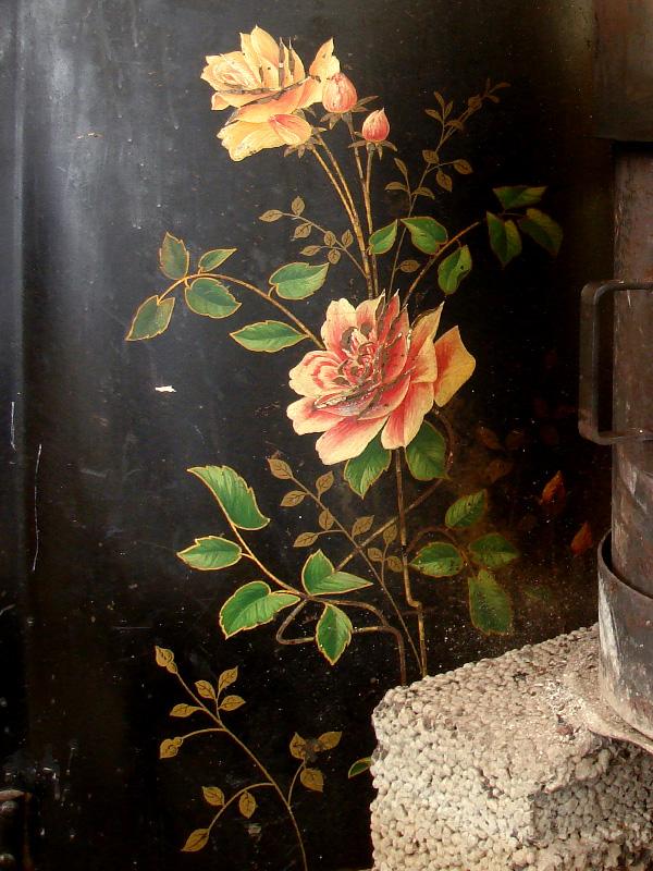 Painted Rose on Black
