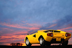 Lamborghini Countach Sunset (michaelward_autoitalia) Tags: sunset yellow italian modena iconic lamborghini supercar countach v12 lambo bertone autoitalia michaelwardphotos