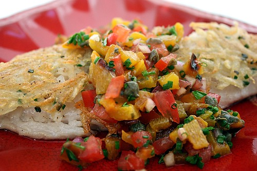 red snapper, snapper, potato crusted fish, pepper salsa