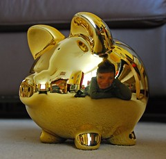 237 of 365 piggy bank (Margaret Stranks) Tags: reflection piggy gold bank 365 2009 365days 237365