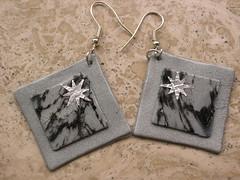 orecchini quadrati con stella argentata (elis82) Tags: grigio fimo orecchini