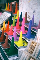 Powder colours (Ellen Munro) Tags: pink red brown india travelling green film yellow 35mm rainbow neon colours bright market powder lilac backpacking 35mmfilm brushes analogue colourful dye heaps palette lurid powders maketplace