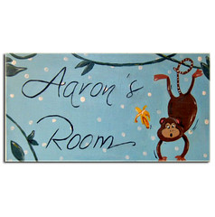 Cheeky Monkey Personalised Door Sign (www.withhugsandkisses.co.uk) Tags: door pink blue boy baby girl animal sign plaque children monkey nursery personalised personilized