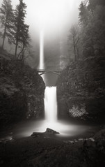 Multnomah Falls, 120 seconds (Zeb Andrews) Tags: bw film nature oregon dark outdoors moody atmosphere pinhole waterfalls pacificnorthwest multnomahfalls columbiarivergorge zeroimage zero69 bluemooncamera zebandrews pinscapes zebandrewsphotography
