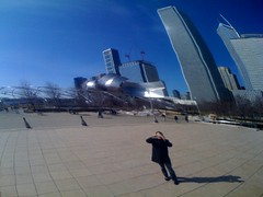 Egg Warp (formfaktor) Tags: park chicago reflection mobile skyline outside mirror egg millenium selfer formfaktor
