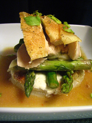 Roasted Chicken, Asparagus and Potato/Fennel Gratin Tower
