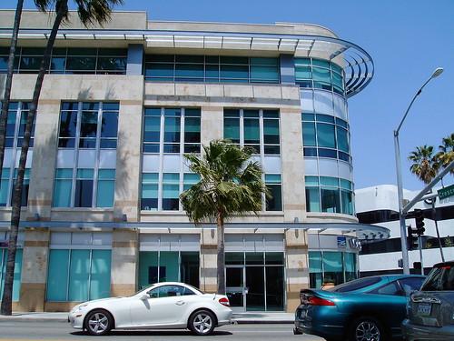 Wilshire Blvd at Cescent Beverly Hills California 90210 White Mercedes SLK