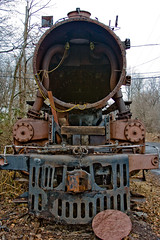 BX864 Steam Locomotive Hulk (listentoreason) Tags: usa america train canon rust technology unitedstates pennsylvania decay places steam transportation locomotive newhope corrosion steamlocomotive rollingstock ef28135mmf3556isusm score25