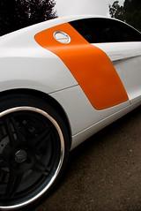 AUDI R8 Angled (j.hietter) Tags: california orange white black detail sports car wheel panel side curves wheels gas part chrome cap badge tuner custom rim audi rims supercar partial r8 tuned