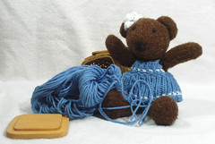 Tedi in trouble again (Poopshe_Bear) Tags: bear toy toys knitting funny dress teddy fuzzy handmade bears knit handknit plush yarn softies cotton knitted stuffies mischief teddies stuffy playful skein tedi softy skeins yarns poopshe poopshebear