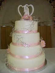 4 tier Fondant wedding cake (custom cake creations) Tags: pink wedding cake crystals with ribbon fondant