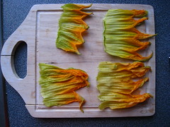 before frying, gorgeous (saragoldsmith) Tags: orange green cooking yellow gradient frying crowns zucchiniblossoms