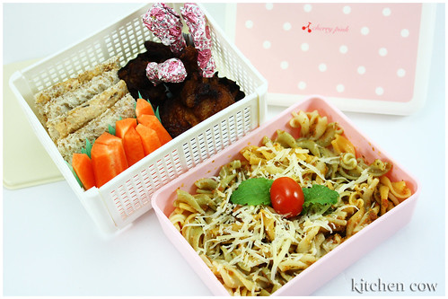 Pasta & Chicken Lollipops Bento