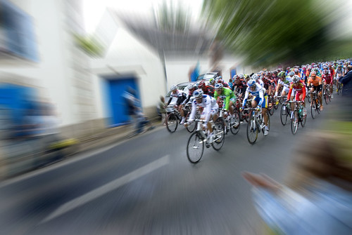 The blur of the peloton. Photo: Alain Bachellier
