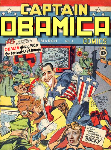 Captain Obamica Starts WWII by giving Hitler the Terrorist Fist Bump