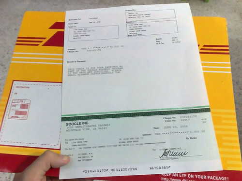 Google AdSense Cheque delivered by DHL