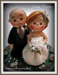 Cake Topper - 12 July 2008 (marytempesta) Tags: wedding cake groom bride handmade fimo clay handicrafts topper polymer