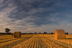 Hay Bales 2 (Colin_E) Tags: sky france color colour clouds rural sunrise landscape dawn countryside brittany farming bretagne vista hay bales cotesdarmor cotedemeraude ysplix theunforgettablepictures crehen skyascanvas