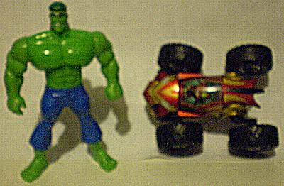 Front of the Hulk figure and the top of Iron Man Regener8'rs vehicle