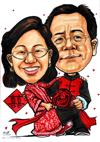 Couple wedding anniversary  carricatures in traditional Chinese kua