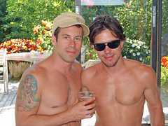 PJ DeBoy and Paul Dawson by David Shankbone (david_shankbone) Tags: shirtless newyork pecs sunglasses gaymen actors drink chesthair longisland lgbt creativecommons stockphotos wikipedia facialhair publicart atlanticocean fireisland inlove rayban stockimages michaellucas stockphotography shortbus publicphotography fireislandpines wikimediacommons  freephotos  wolftattoo pauldawson freeimages  pjdeboy    gaydestinations gaycelebrities bydavidshankbone    shankboneorg    gayvacationspots