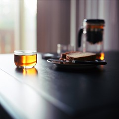 Tea and Bread (Inside_man) Tags: morning stilllife 120 6x6 mamiya tlr c220 film mediumformat bread colorful tea drink bokeh teapot teacup utensil lightandshadow wholewheat brewed portravc teaandbread