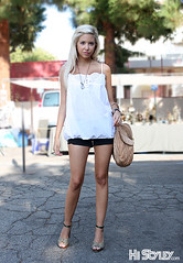 HiStyley l Melrose Trading Post  Street Style  #113 (HiStyley) Tags: california ca street city portrait people girl fashion bag la necklace losangeles women style swedish melrose hollywood blonde heels shorts 2008 08 braid streetfashion streetstyle melrosetradingpost natachapeyre histyley