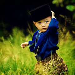 Happy Eid uL-Fitri | Selamat Hari Raya (wazari) Tags: boy portrait baby art smile face kids pose children square bigeyes eyes nikon asia dof child emotion bokeh expression muslim islam faith religion culture posing son 300mm myson malaysia tradition emotional anakku melayu malay wajah anak bajumelayu songkok samping songket headgear nationaldress potret nikond200 availablelightphotography kainsongket naturallightphotography anakkecil hitamputih haiqal aplusphoto tradisi wazari expressi aseankids wazarihaiqal malaynationaldress
