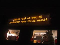 Mirrored Ticker Above Projectionist Window (calaggie) Tags: elcerrito elcerritospeakeasy tvtm tvtalkmachine