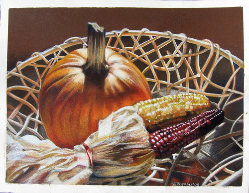 Colored pencil drawing entitled Autumn Still Life