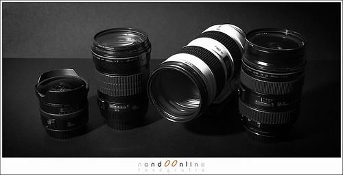 Figuur 5: Lenzen concertfoto's: EF 15mm f/2,8 fisheye, EF 24-70mm f/2,8L USM, EF 135mm f/2,0L USM en EF 70-200mm f/2,8L IS USM