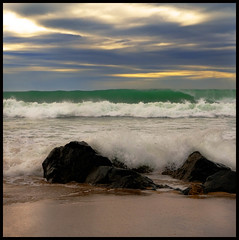 "The ""Calm"" After The Storm (Mark Emirali) Tags: ocean sea newzealand sky white storm colour art beach nature clouds canon square landscape rocks surf waves tube barrel nz tamron aotearoa coromandel whitewash 30d pumping copyrighted tairua canon30d pleasedonotusewithoutmypermission goinoff maloe4 vosplusbellesphotos maloephoto maloephotography markemirali markemiraliphotography"