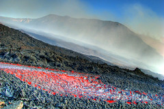 Etna - not the first flow... (Thomas Reichart ) Tags: italien red italy oktober mountain 3 landscape volcano lava october glow crack heat sicily 2008 etna liquid dri source hdr vulkan sizilien lavaflow 3x vulkane valledelbove sditalien tna lavastrom